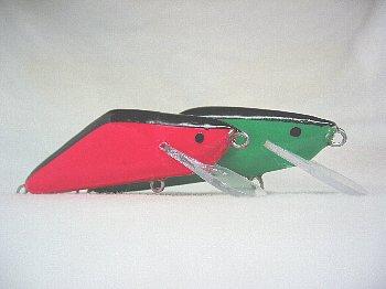 サーモン用YSミノーのニューカラー「蛍光ピンク&蛍光グリーン」(93mm、28g、HS)(2008/10/22)