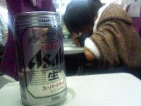 電車の中でビールで乾杯