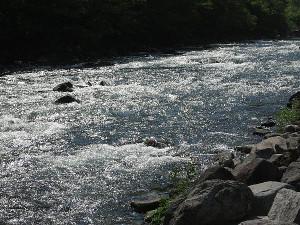 川治ダムから流れ出している鬼怒川本流