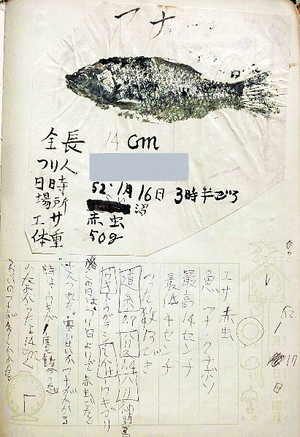 小学生時代の釣り日記「寒鮒の魚拓」