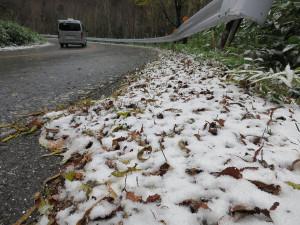 金精峠(沼田側)の路肩の雪