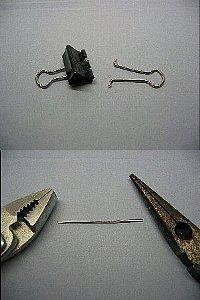 ルアーロッドの修理、ダブリクリップ、ペンチで伸ばした把手(金属棒)