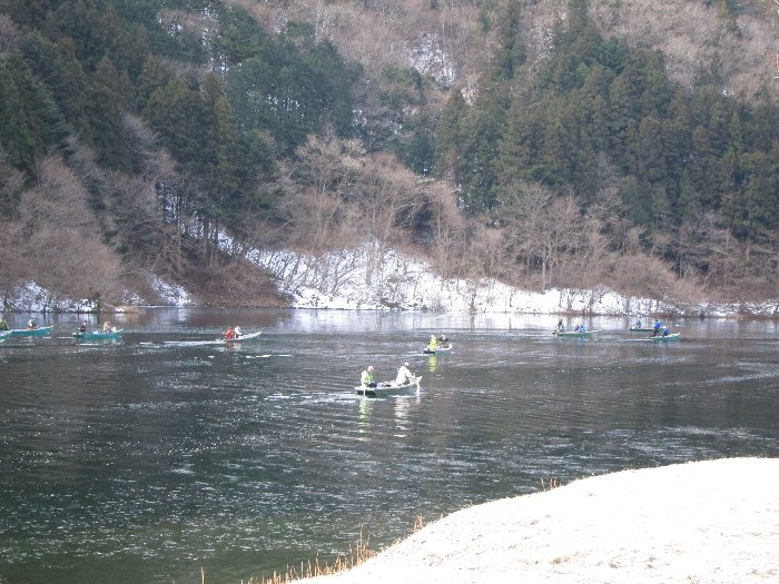 東古屋湖解禁前調査・調査開始