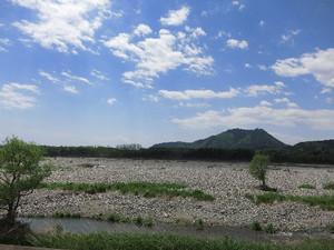 鬼怒川の土手から眺める羽黒山